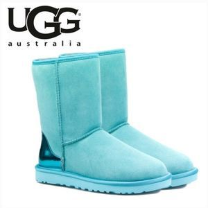 Ugg Classic Short Boot Metallic Heel Blue Suede 8